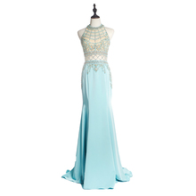 2018 Sexy Girl Elegant Wholesale Beading Hot Sale Halter Backless Long Evening Dresses
