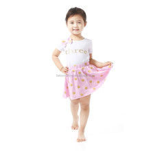 2017 new arrivals white top with gold dot pink skirt birthday outfit