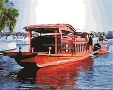 Beautiful landscape with big boat diy number oil painting for home decoration