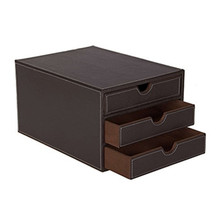 Faux leather customized office stationery desk 3 5 drawer organizer with custom logo