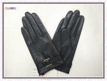 Fashion Design Woman's Black Leather Glove for Driving