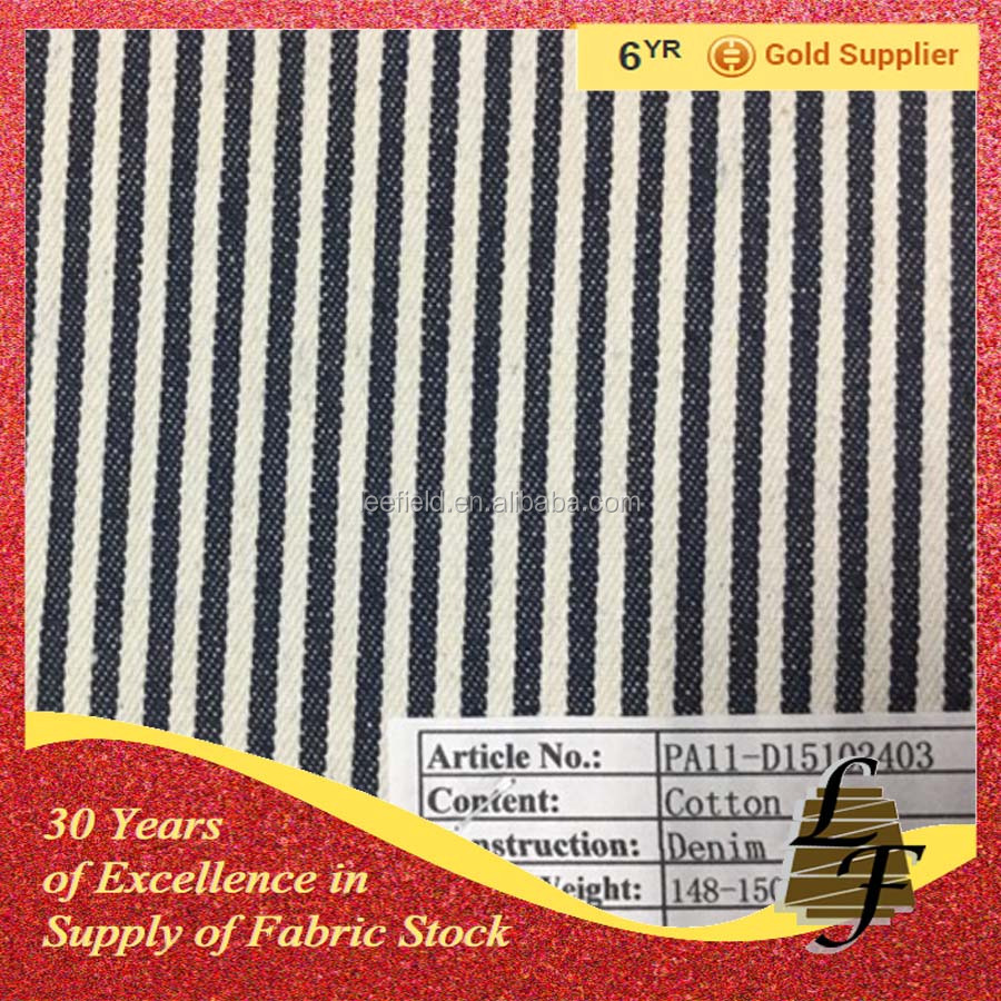 stock Stripes cotton stretch denim fabric P3F4-D15102403