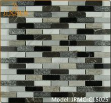 lander stone beige emperador light and dark mixed marble mosaic colorful strip tile new product