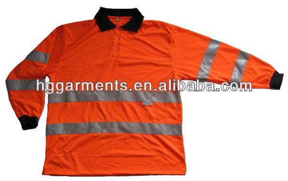 Hi Vis Clothing Safety Long Sleeve Polo shirt