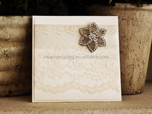 Gatefold fancy design lace card for 2015 romantic wedding theme