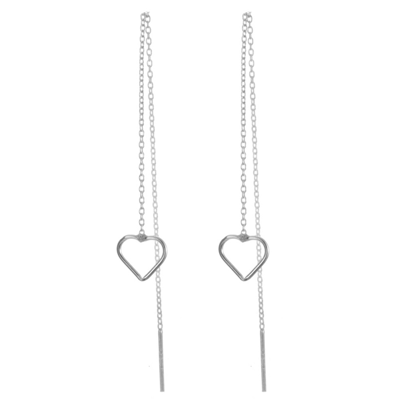 simple heart design handmade long chain thread earrings frame white gold plated bulk buy sterling silver jewelry wholesale