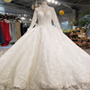 LS78000 Real factory top quality long sleeve long train wedding dress ball gown detachable tail lace wedding dress