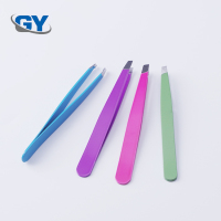 Wholesale custom cheap eyelash extension tweezers plastic eyebrow tweezers