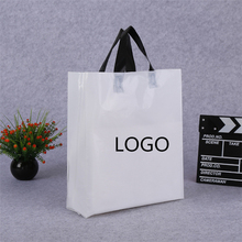 Wholesale custom logo design pe material white plastic carry bag handle