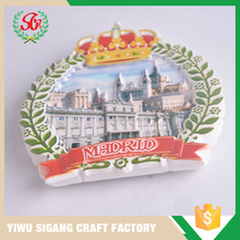 Cheap Custom Souvenir/Gifts Use Resin Material Madrid Fridge Magnet