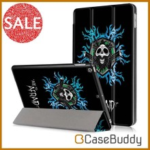 Casebuddy Colorful Printing Protective Folding Stand Flame Skull Leather Cover Case for Apple iPad 9.7 inch