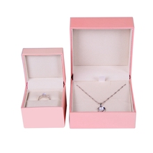 High end paper branded pink jewellery necklace and earring gift box