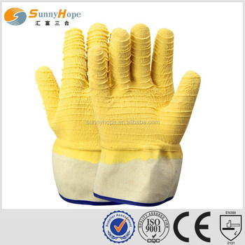 safety cuff yellow rubber latex coated gloves