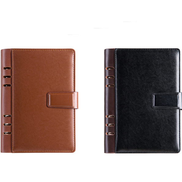 Mult-function Office Meeting Notebook,Leather Notebook Cover with Card Slots
