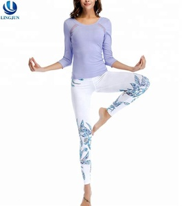 New style mesh sticked long sleeves with printed trousers comfortable padded workout sportswear ladies yoga wear suit