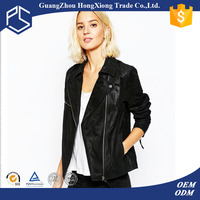2016 OEM Manufacture Custom Logo Fitted Long Sleeves Women Leather Jacket