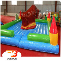 Super funny kids games amusement inflatable red bull