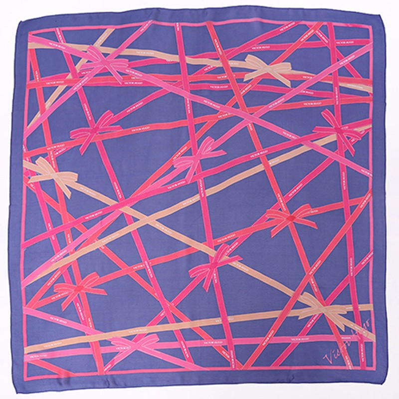 Red and blue color large square head scarf screen printed silk georgette satin scarf