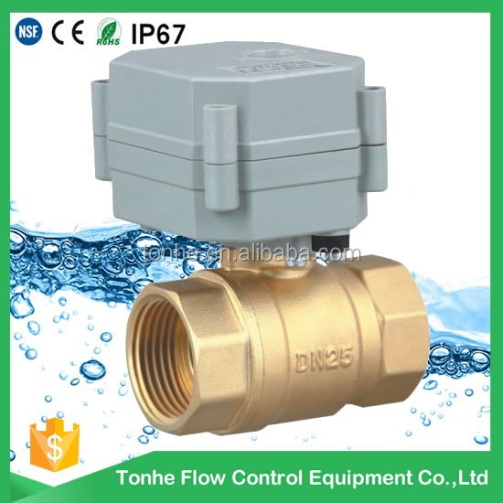 "OEM 2 Way Brass DN25 1"" inch DC5V/12V/24V Motorized valve Electric Control brass Ball valve"