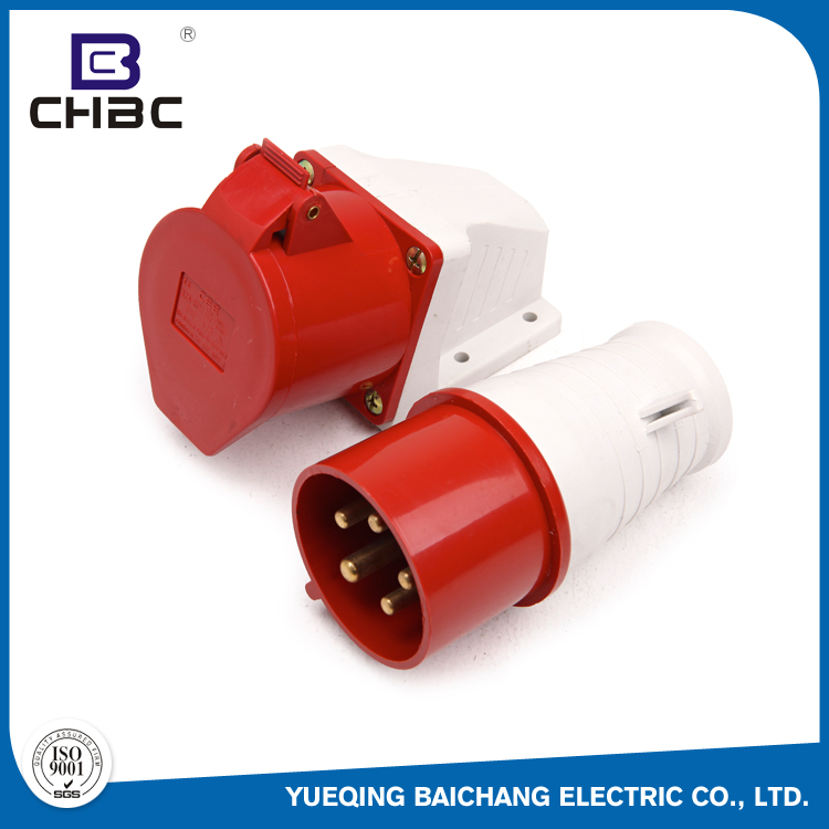 CHBC 400V 16A Red Standard Grounding Industrial Plug And Switched Socket