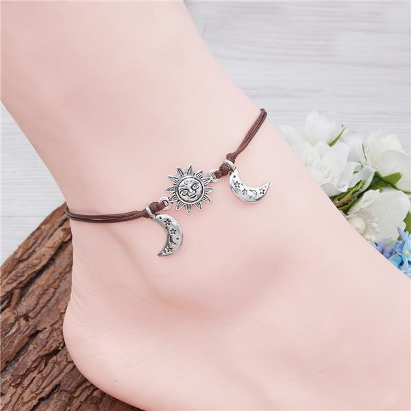 Polyester Boho Chic Antique Silver Coffee Sun And Moon Face Latest Anklet Design