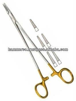 Gold Plated De-Bakey Needle Holder with Tungsten Carbide