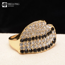 BLDR0059 stone jewelry supply pave diamonds heart shape 18k gold finger ring