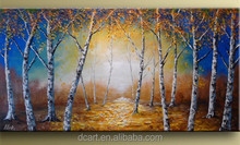 2014 new design beautiful decoration palette knife tree oil painting on canvas