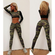 Sexy Design Women Camo Sportswear Long Sleeve Clothing And Fitness Gym Leggings Suits Girl Workout Running Wear Sports Wholesale
