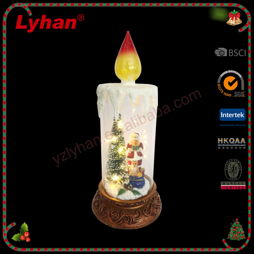 Lyhan hot sale glass and poly candle with led lights ,christmas santa and tree inside ,table decoration