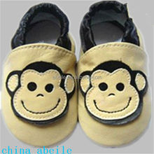 Monkey's smiling face pattern wholesale soft star cow genuine leather fashionable boy infants walking baby toddler shoes