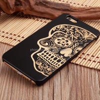 DIY Black Wood Phone Shell Laser Black Blank Bamboo Mobile Phone cases For iPhone 7 Plus