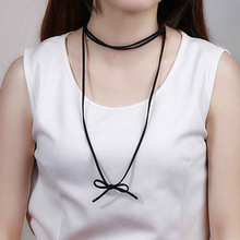New Fashion Bowknot Black Triple Layer Velvet Suede Choker Necklace