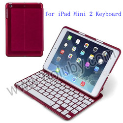 7 Color Backlighting Flip PU+Aluminum Bluetooth Keyboard Case for iPad Mini 2 Retina