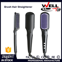 Fast Hair Straightener Brush Comb Hot Sale Mini Heating Ionic Comb LCD Display Electric Private Label Hair Straightener