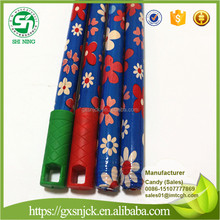 Flower wooden poles for street cleaning broom with Italian thread