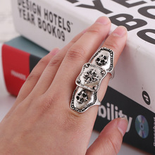 New Fashion Women Punk Hollow Vintage Cross Bronze/Silver Color Armor Stretch Base Full Finger Joint Ring