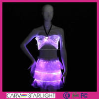 Magic light up dresses luminous shinning bra and short skirts