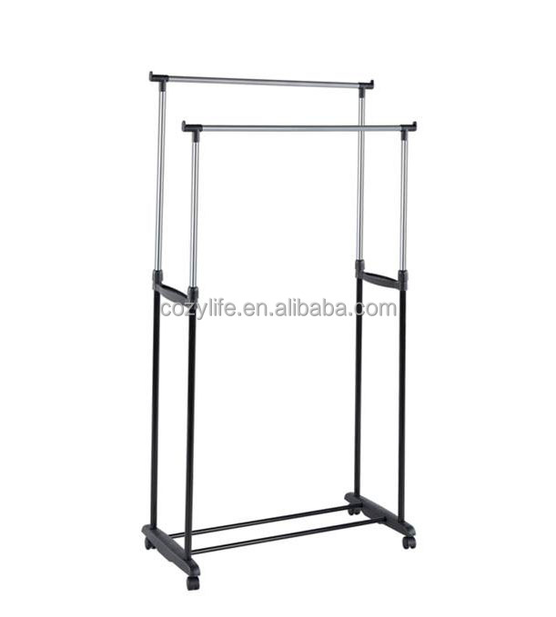Double garment rack with wheels stainless steel tube durable clothes rack