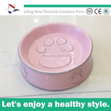 "embossed footprints water small dog 6"" bowl , food small cat 4.5"" bowl N0051"