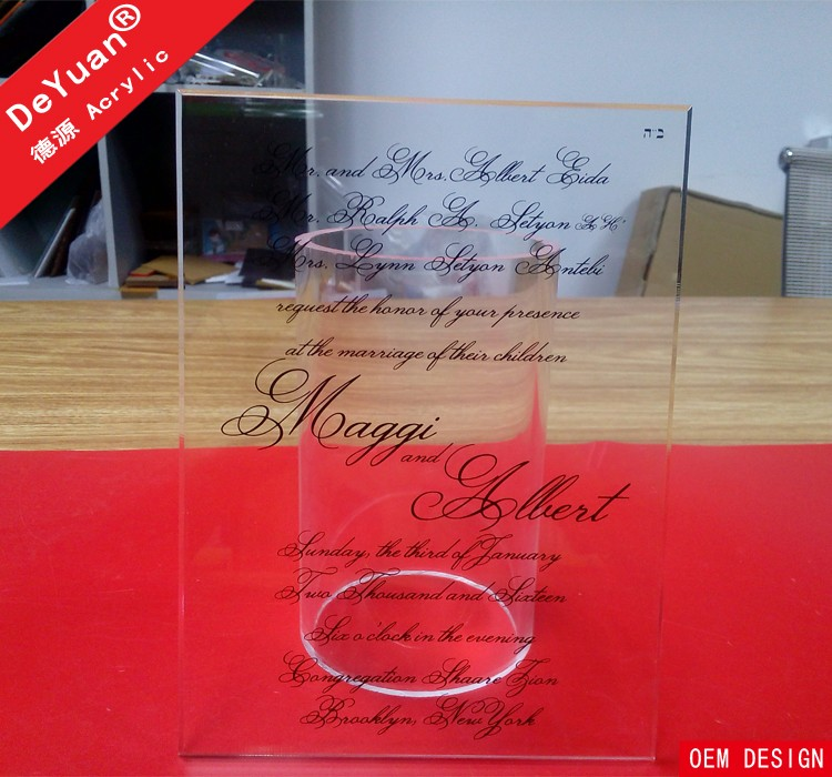 Perspex invitation cards for wedding in 2014