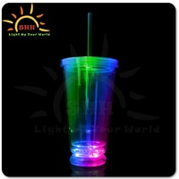 2015 hot sale double walled tumbler with straw Light up flashing plastic cup, led plastic cup wholesale