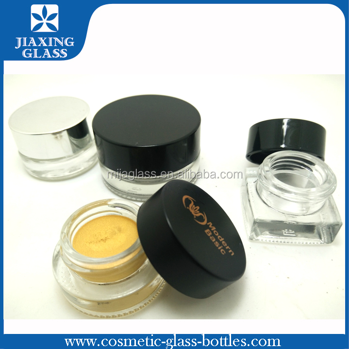 Soft Touch Eye Cream Jar Clear 5g 10g Cosmetic Jar Black Screw Cap Cosmetic Container