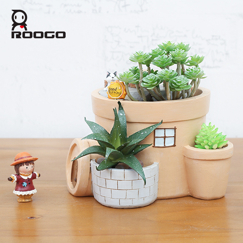 ROOGO Originality home decoration resin mini cat house indoor plant pot