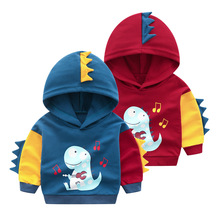 Wholesale Boys Clothes Turkey Cartoon Dinosaur Winter Thicker <strong>Hoodies</strong>