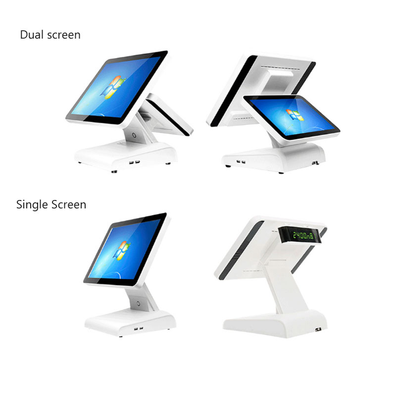 Fanless 15 Inch With 12 Inch Windows Pos System Dual Screen