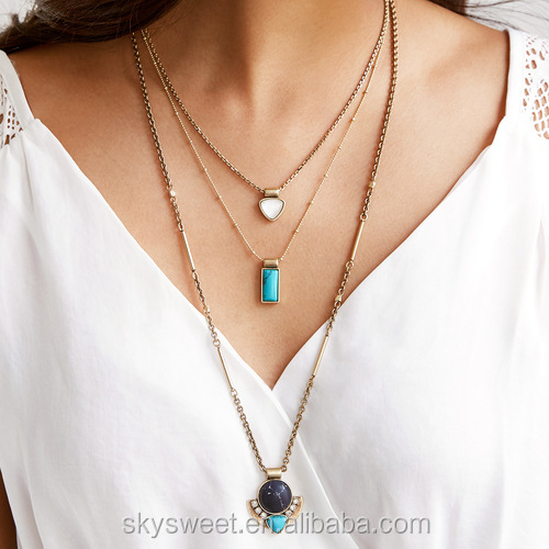 Multi layer gold chain alloy lady pendant necklace,high quality natural stone jewelry woman(PR1320)