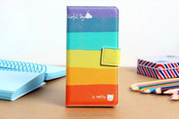 Leather case rainbow pattern PU material fashion girls favorites wallet case for Samsung galaxy S5 I9600