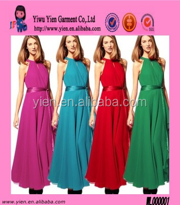 Candy Color Sleeveless Evening Dress Belt Chiffon Maxi Dresses