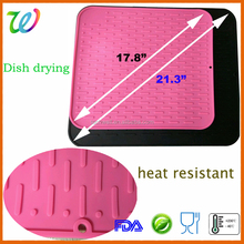 Eco-friendly big kitchen silicone dish drying mat
